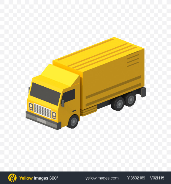 Download Low Poly Cargo Truck Transparent PNG on Yellow Images 360°
