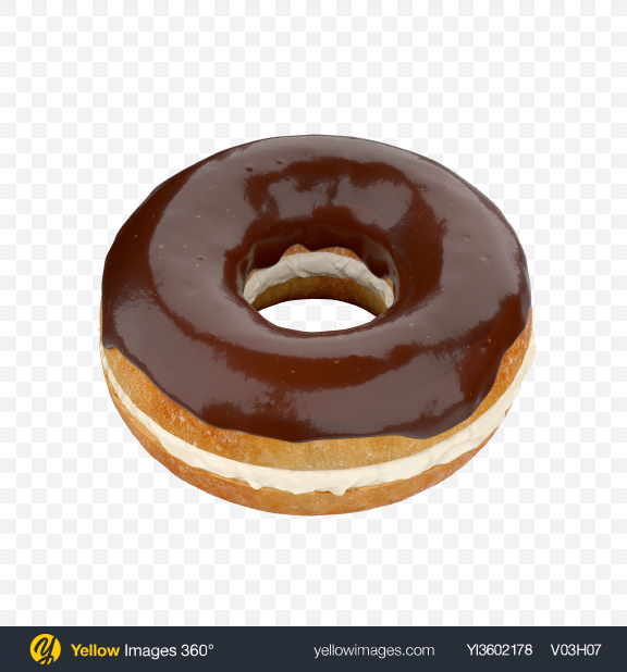 Download Chocolate Glazed Bagel with Cream Cheese Transparent PNG on Yellow Images 360°