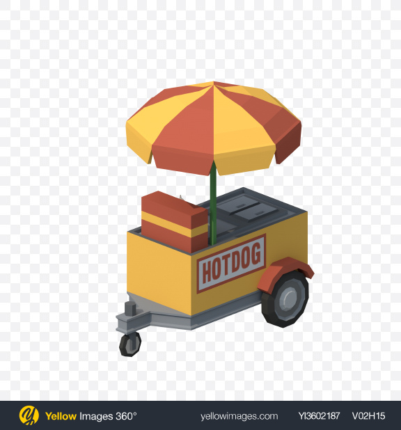 Download Low Poly Food Cart Transparent PNG on Yellow Images 360°