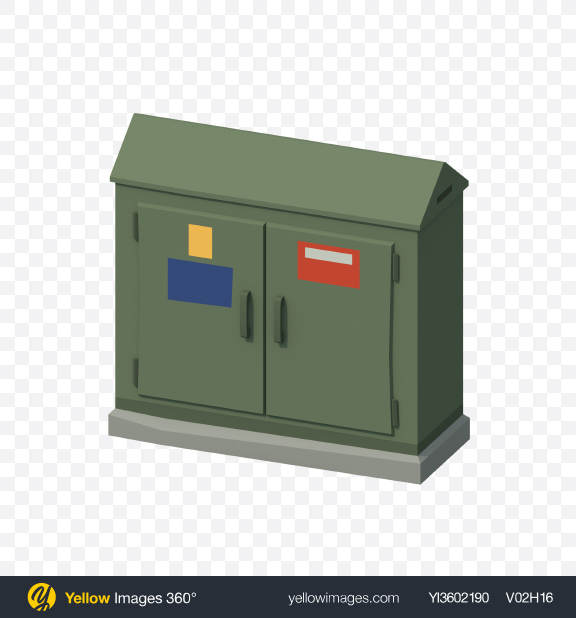 Download Low Poly Street Switchboard Transparent PNG on Yellow Images 360°
