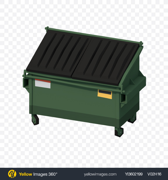 Download Low Poly Dumpster Transparent PNG on Yellow Images 360°