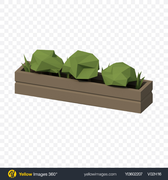 Download Low Poly Plants Pot Transparent PNG on Yellow Images 360°