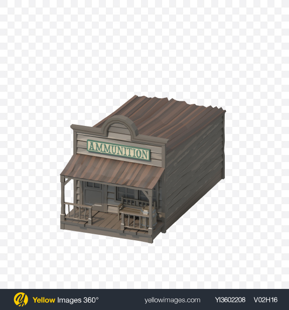 Download Low Poly Ammunition Store Transparent PNG on Yellow Images 360°