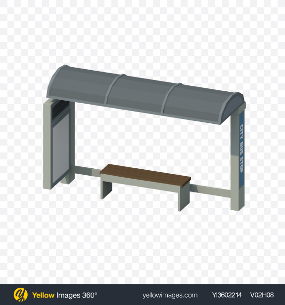 Download Low Poly Bus Stop Transparent PNG on Yellow Images 360°