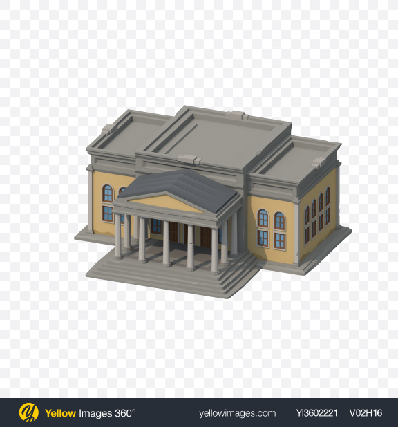 Download Low Poly City Hall Transparent PNG on Yellow Images 360°