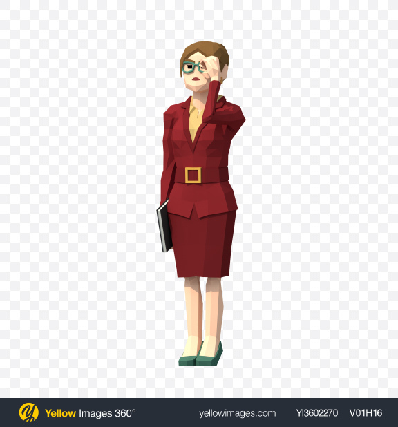 Download Low Poly Business Woman Transparent PNG on Yellow Images 360°