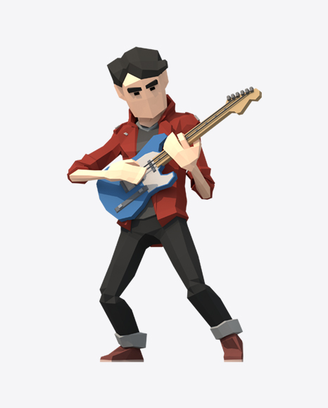 Low Poly Guitarist