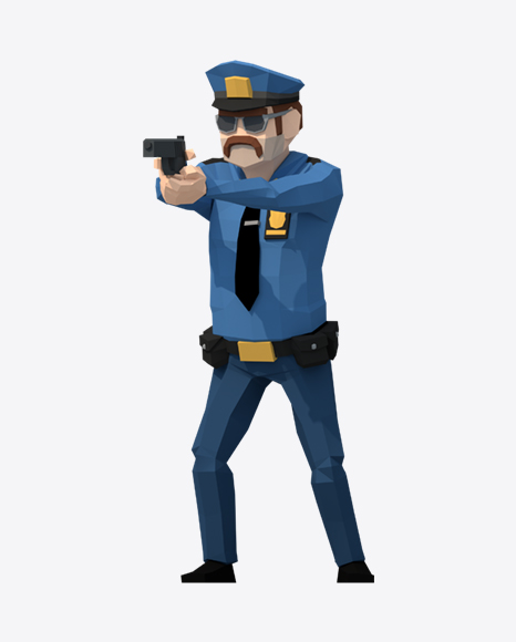 Low Poly Police Man Pointing Gun