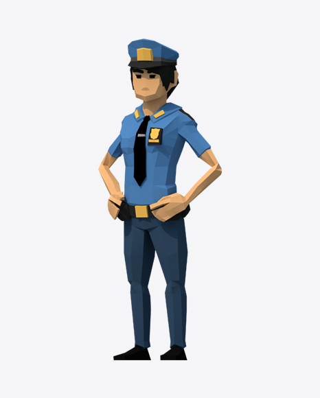 Low Poly Police Woman