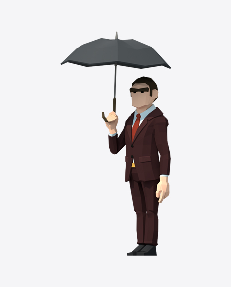 Low Poly Man with Umbrella
