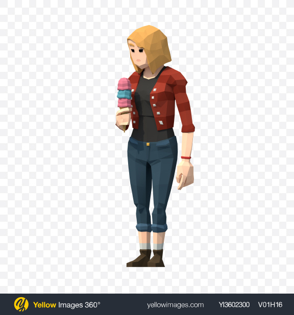 Download Low Poly Young Lady with Ice Cream Transparent PNG on Yellow Images 360°