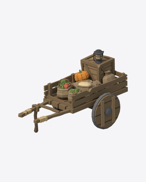 Low Poly Old Food Cart