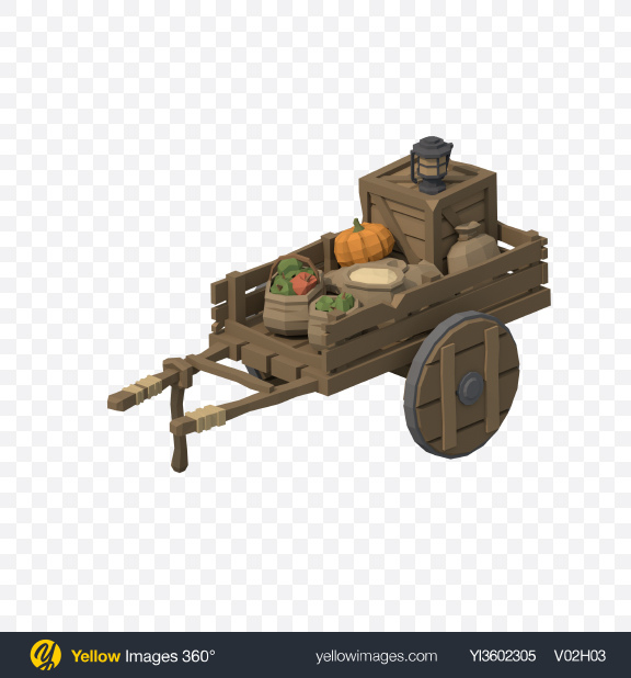 Download Low Poly Old Food Cart Transparent PNG on Yellow Images 360°