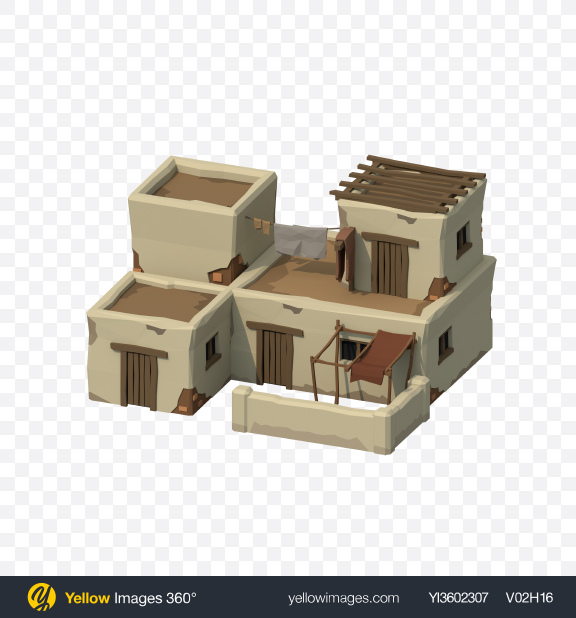 Download Low Poly Ancient House Transparent PNG on Yellow Images 360°