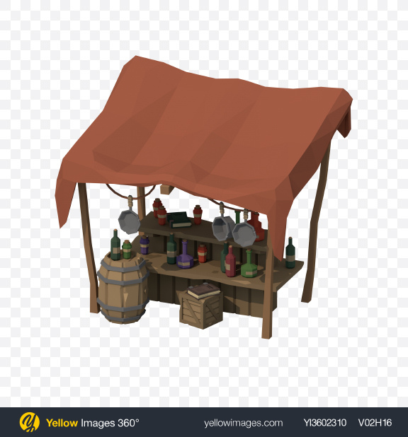 Download Low Poly Market Stall Transparent PNG on Yellow Images 360°