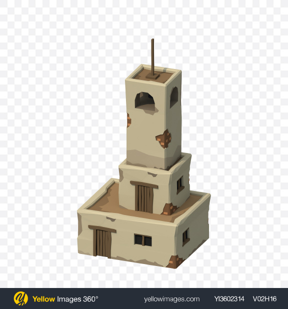 Download Low Poly Bell Tower Transparent PNG on Yellow Images 360°