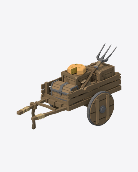 Low Poly Wooden Cart