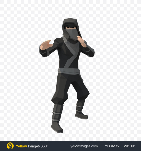 Download Low Poly Ninja Transparent PNG on Yellow Images 360°