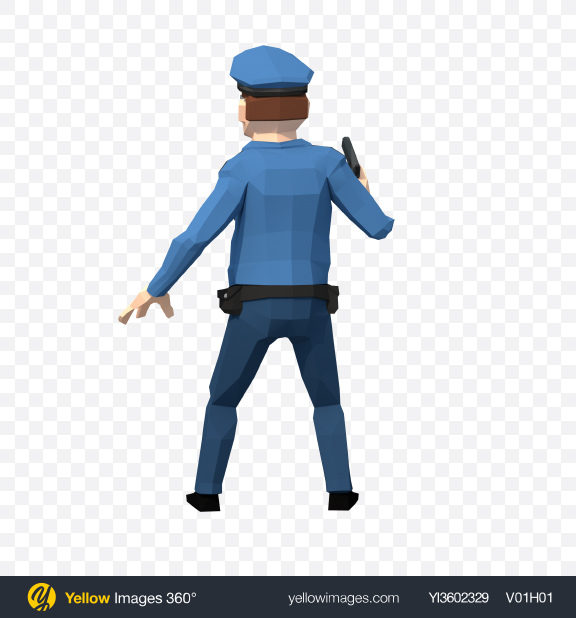 Download Low Poly Police Man Transparent PNG on Yellow Images 360°