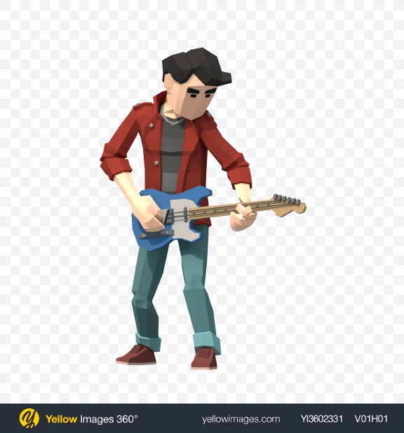 Download Low Poly Guitarist Transparent PNG on Yellow Images 360°
