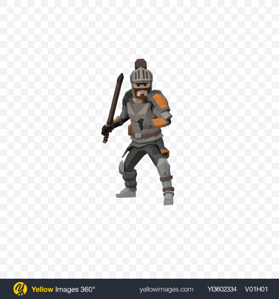 Download Low Poly Knight Transparent PNG on Yellow Images 360°