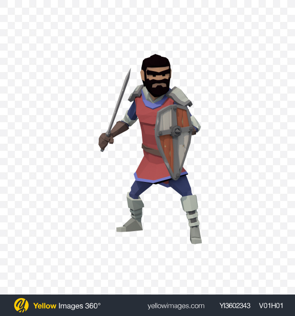 Download Low Poly Knight Guard Transparent PNG on Yellow Images 360°