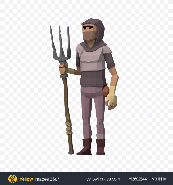Download Low Poly Peasant Transparent PNG on Yellow Images 360°