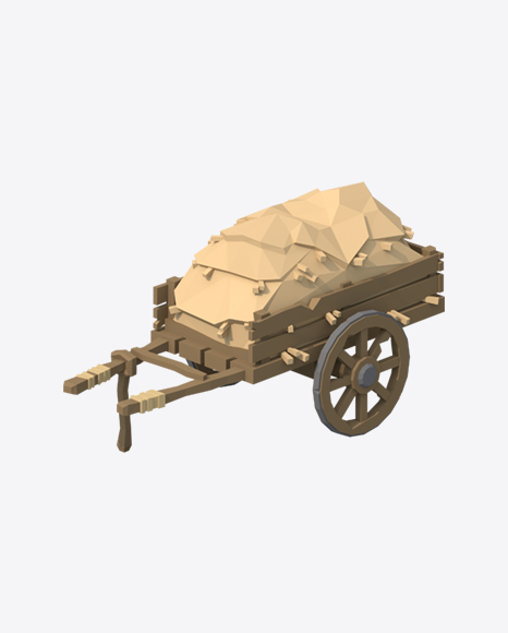 Low Poly Cart with Hay