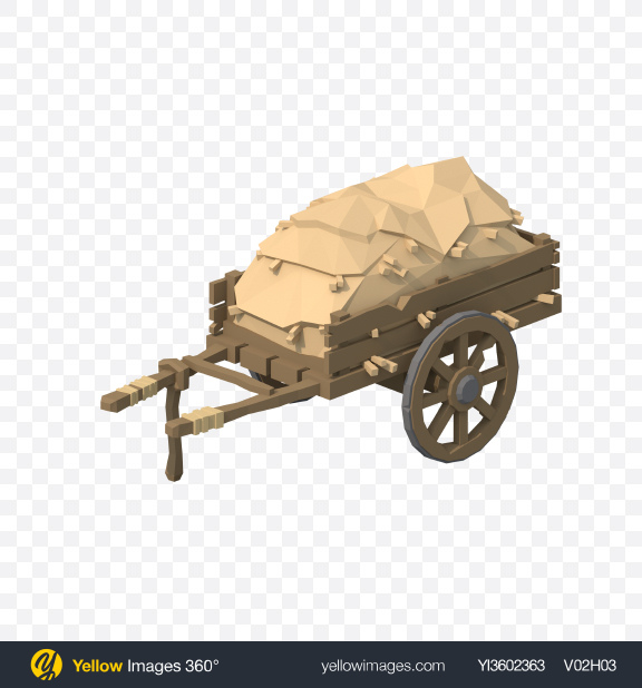 Download Low Poly Cart with Hay Transparent PNG on YELLOW Images