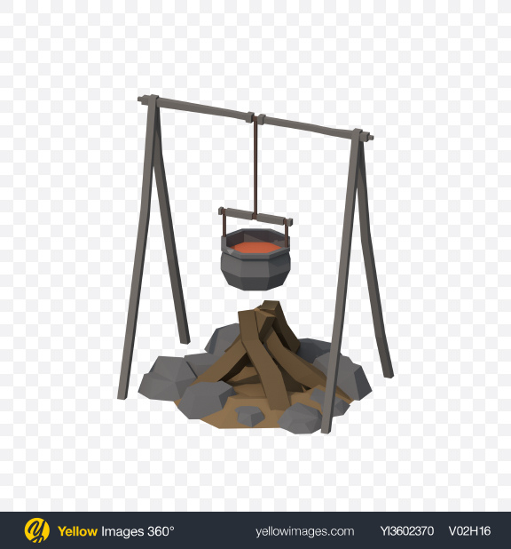 Download Low Poly Bonfire with Bowler Pot Transparent PNG on YELLOW Images