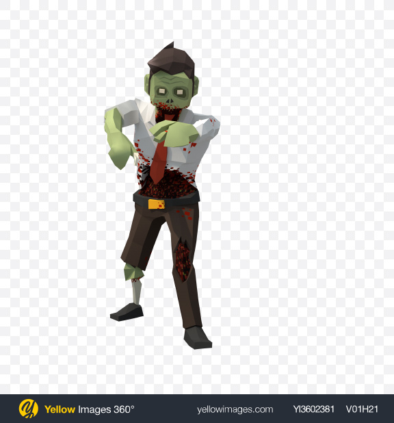 Download Low Poly Zombie Transparent PNG on Yellow Images 360°