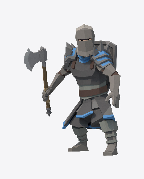 Low Poly Knight Axe Attack
