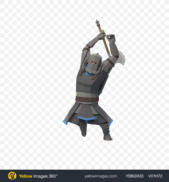 Download Low Poly Knight Axe Attack Transparent PNG on Yellow Images 360°