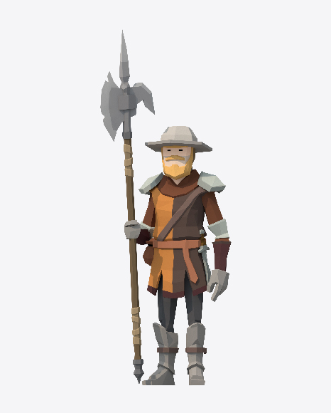 Low Poly Guarding Soldier