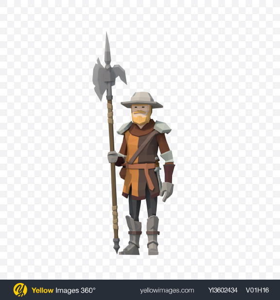 Download Low Poly Guarding Soldier Transparent PNG on Yellow Images 360°