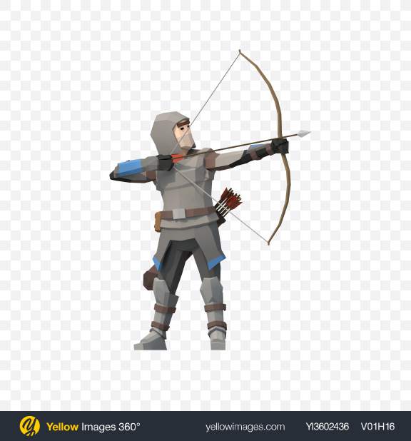 Download Low Poly Archer Aiming Transparent PNG on YELLOW Images