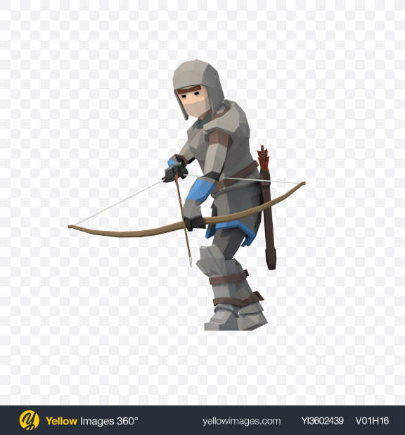 Download Low Poly Archer Transparent PNG on Yellow Images 360°