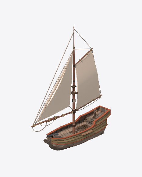 Low Poly Small Sailing Ship