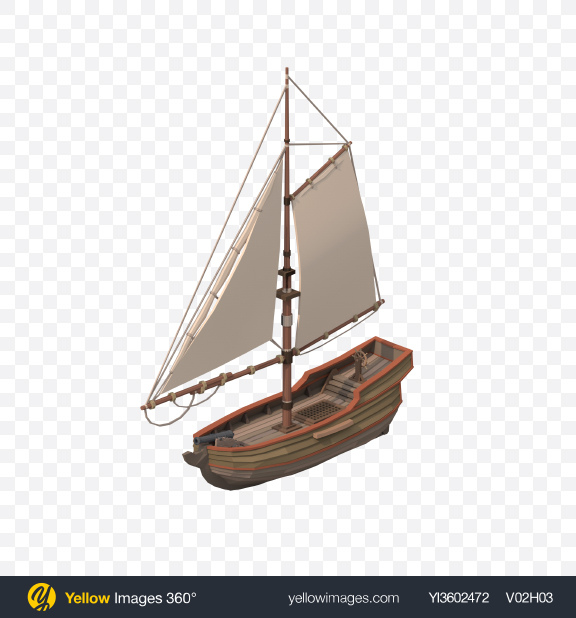 Download Low Poly Small Sailing Ship Transparent PNG on Yellow Images 360°