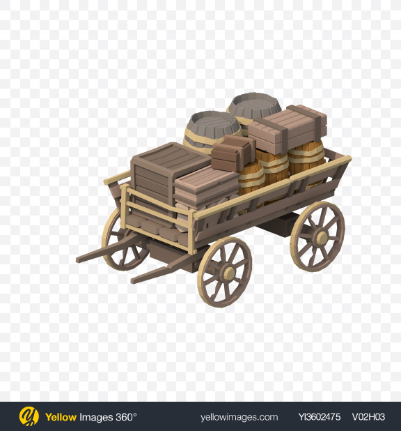 Download Low Poly Cart Transparent PNG on Yellow Images 360°