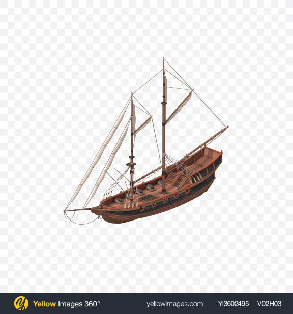 Download Low Poly Sailing Ship Transparent PNG on Yellow Images 360°
