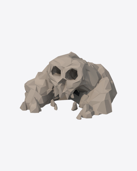 Low Poly Skull Shaped Rocks