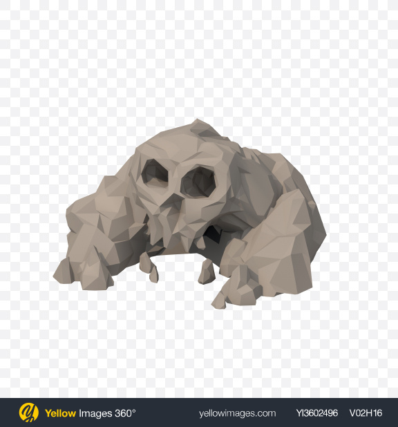 Download Low Poly Skull Shaped Rocks Transparent PNG on Yellow Images 360°