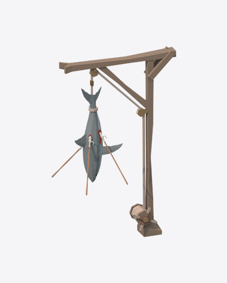 Low Poly Wooden Crane