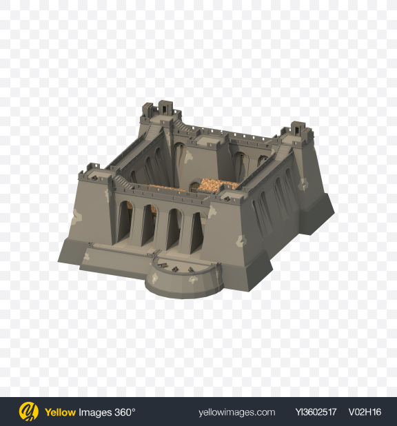 Download Low Poly Fortress Transparent PNG on Yellow Images 360°