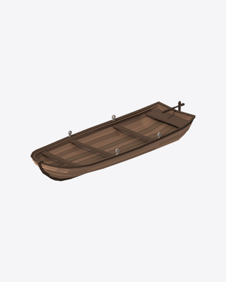 Low Poly Wooden Boat