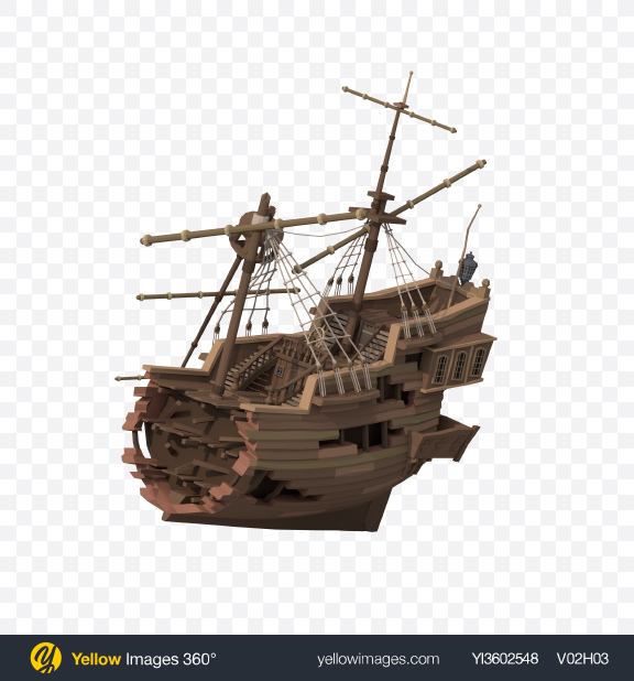 Download Low Poly Wrecked Ship Transparent PNG on Yellow Images 360°