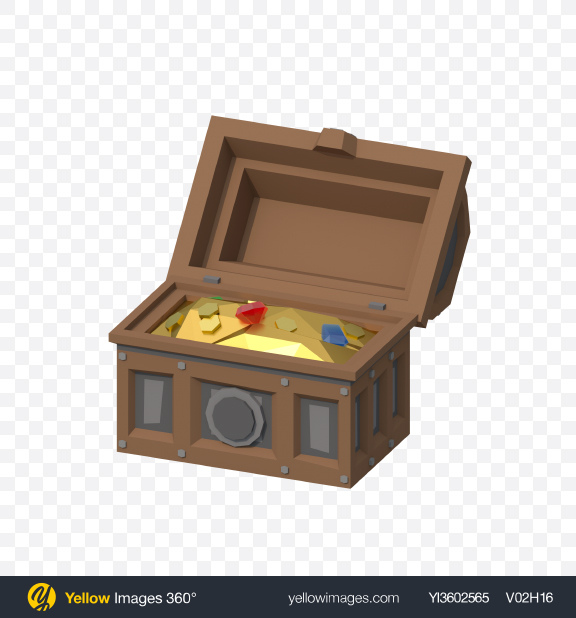 Download Low Poly Opened Treasure Chest Transparent PNG on Yellow Images 360°