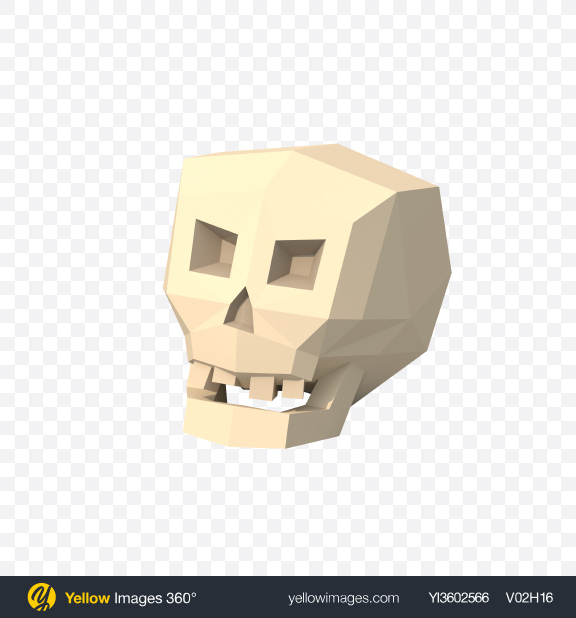 Download Low Poly Skull Transparent PNG on Yellow Images 360°