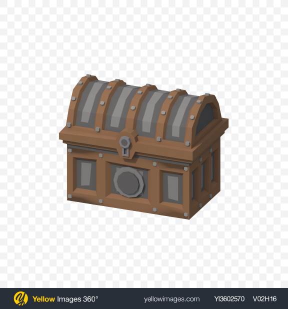 Download Low Poly Treasure Chest Transparent PNG on Yellow Images 360°